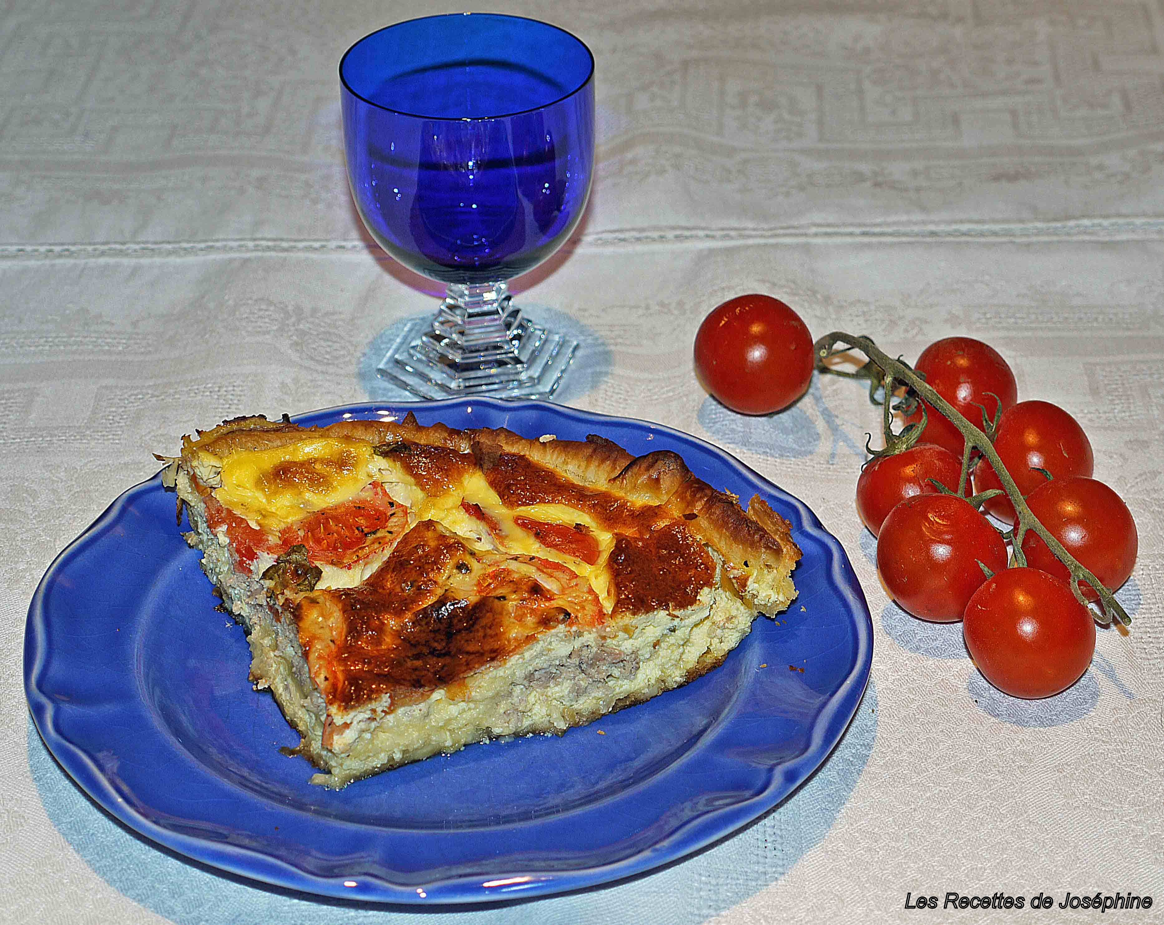 Quiche aux Tomates Confites, Basilic et Thon