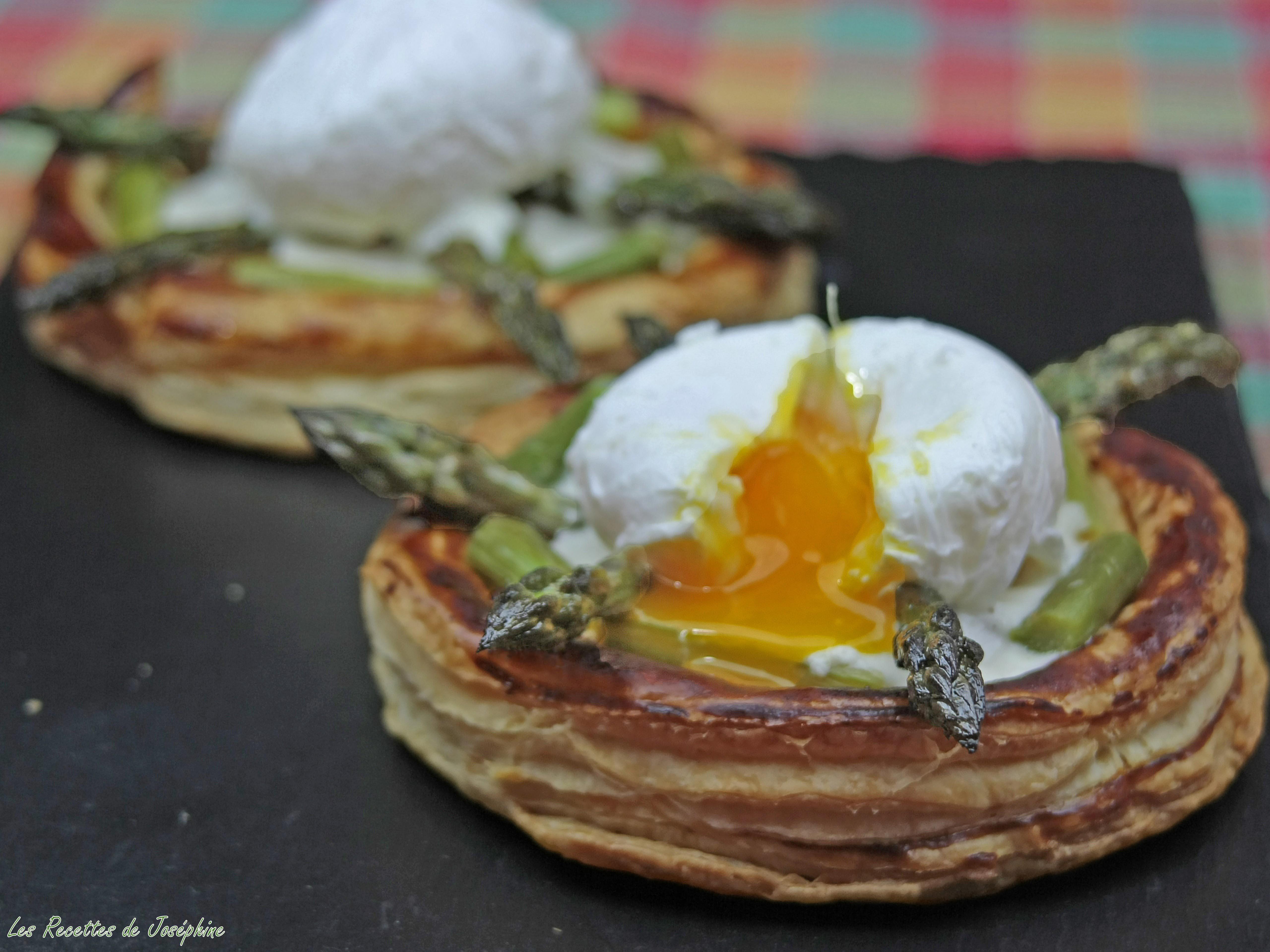 Tartelette d'Asperge, œuf Poché et Crème de Parmesan